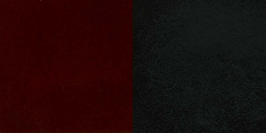 #90 - BLACK LADDER BACK SWIVEL METAL BAR STOOL WITH MAHOGANY WOOD SEAT