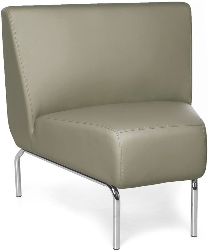 #165 - Armless 45 Degree Lounge Chair with Vinyl Seat and Chrome Feet in Taupe