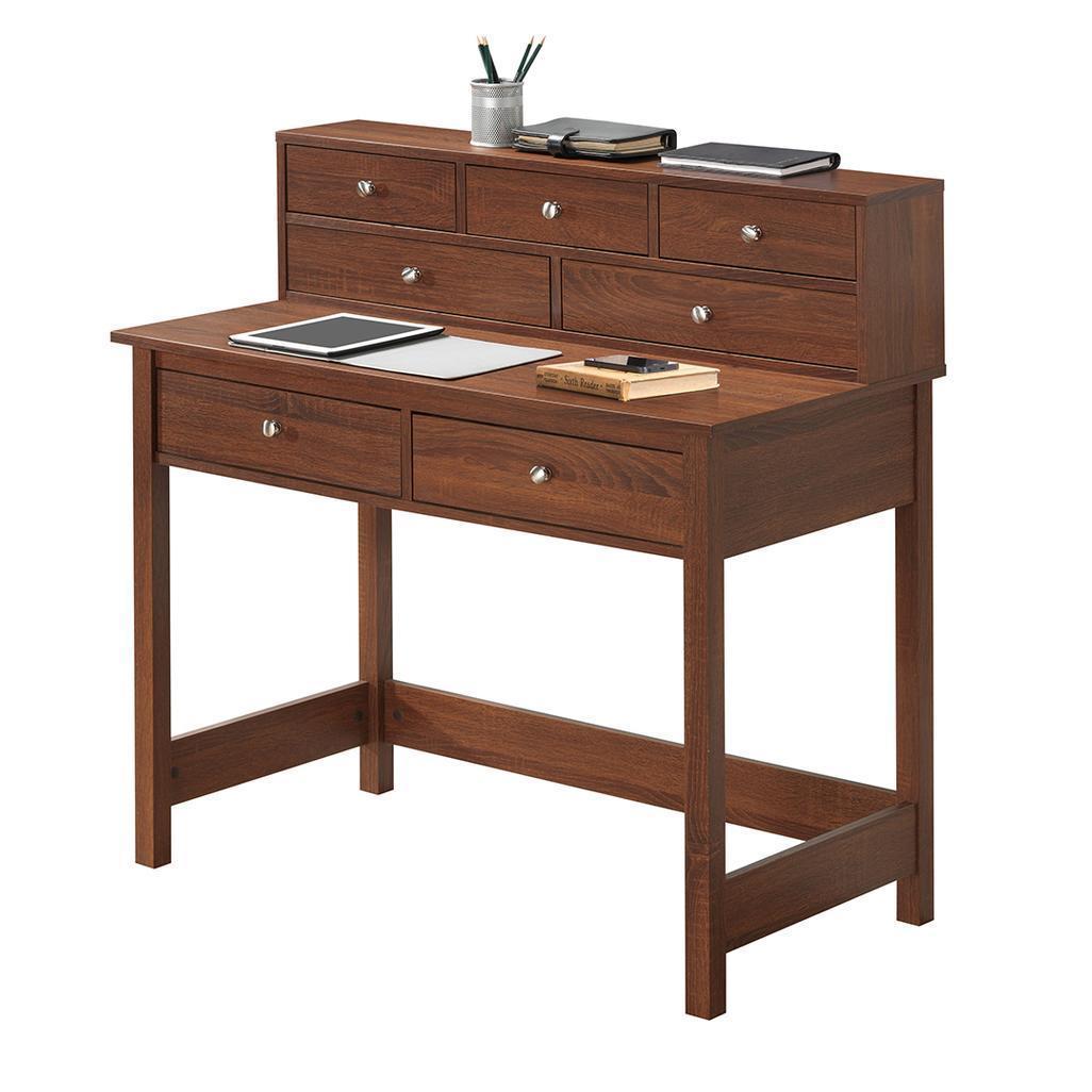 #62 - Modern Elegant Laptop Desk with 7 Drawers and Shelf in Oak