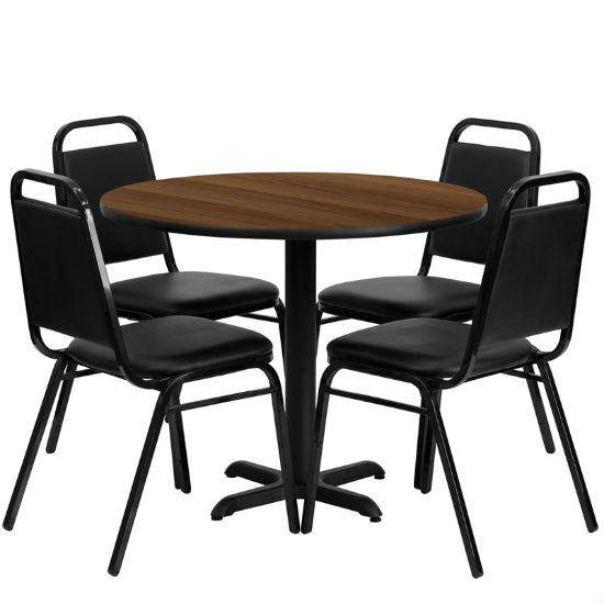 #7 - 36'' ROUND WALNUT LAMINATE TABLE SET WITH 4 BLACK TRAPEZOIDAL BACK BANQUET CHAIRS