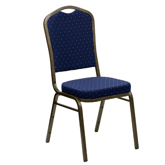 #5 - CROWN BACK BANQUET CHAIR WITH BLUE COLOR FABRIC  AND GOLD DOTS
