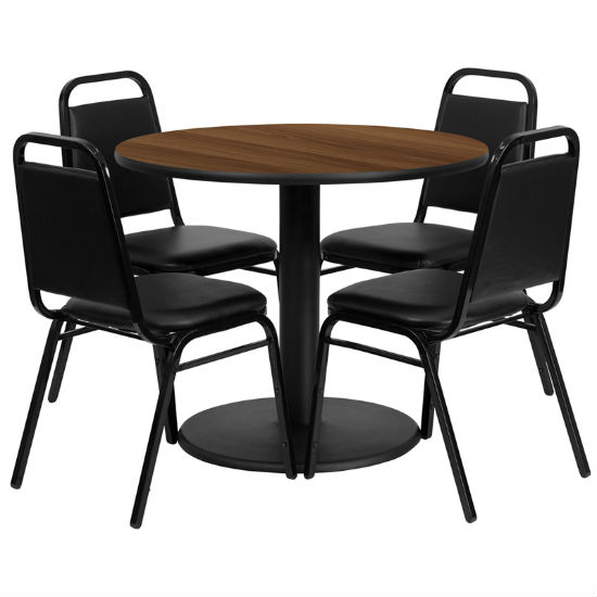 #8 - 36'' ROUND WALNUT LAMINATE TABLE SET WITH 4 BLACK TRAPEZOIDAL BACK BANQUET CHAIRS