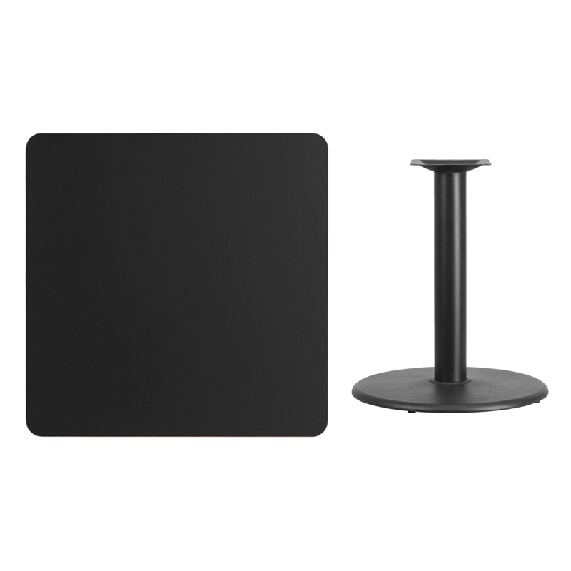 #96 - 36'' SQUARE BLACK LAMINATE TABLE TOP WITH 24'' ROUND TABLE HEIGHT BASE