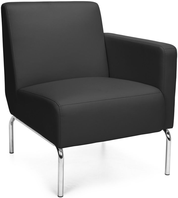 #156 - Left Arm Modular Lounge Chair with Vinyl Seat and Chrome Feet in Black