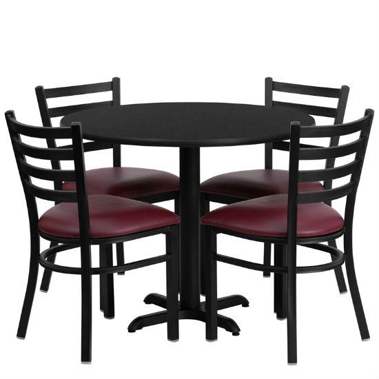#9 - 36'' ROUND BLACK LAMINATE TABLE SET WITH 4 LADDER BACK METAL CHAIRS - BURGUNDY VINYL SEAT