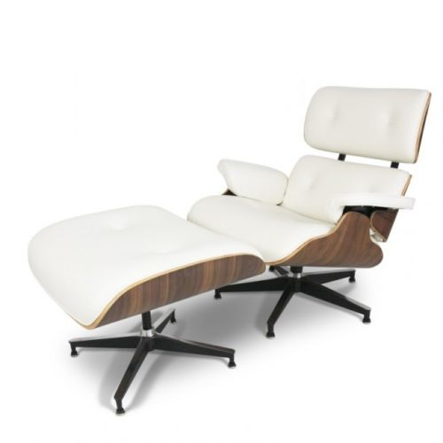#66 - Mid-Century Classic Design Walnut Lounge Chair & Ottoman Set in Top Grain Italian White Leather