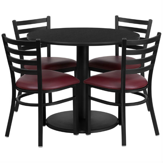 #10 - 36'' ROUND BLACK LAMINATE TABLE SET WITH 4 LADDER BACK METAL CHAIRS - BURGUNDY VINYL SEAT