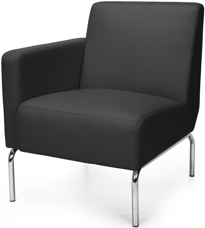 #158 - Right Arm Modular Lounge Chair with Vinyl Seat and Chrome Feet in Black