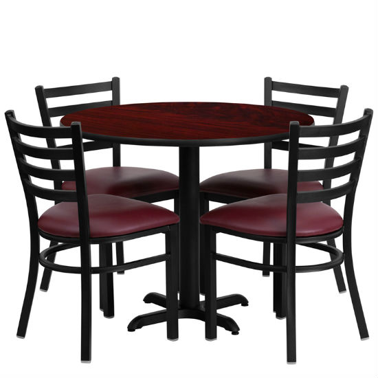 #11 - 36'' ROUND MAHOGANY LAMINATE TABLE SET WITH 4 LADDER BACK METAL CHAIRS - BURGUNDY VINYL SEAT