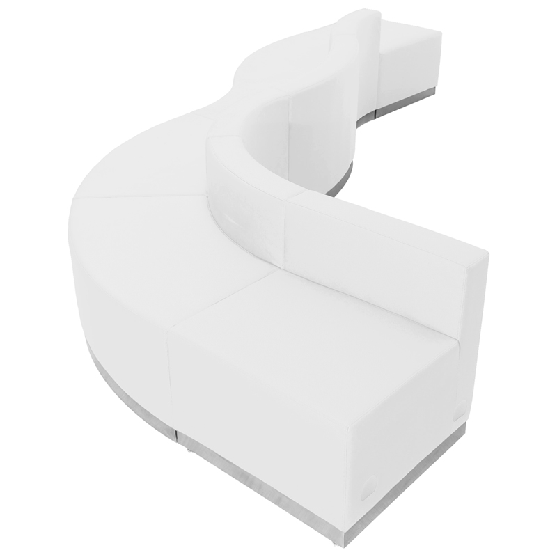 #83 -  LOUNGE SERIES WHITE LEATHER RECEPTION CONFIGURATION, 6 PIECES
