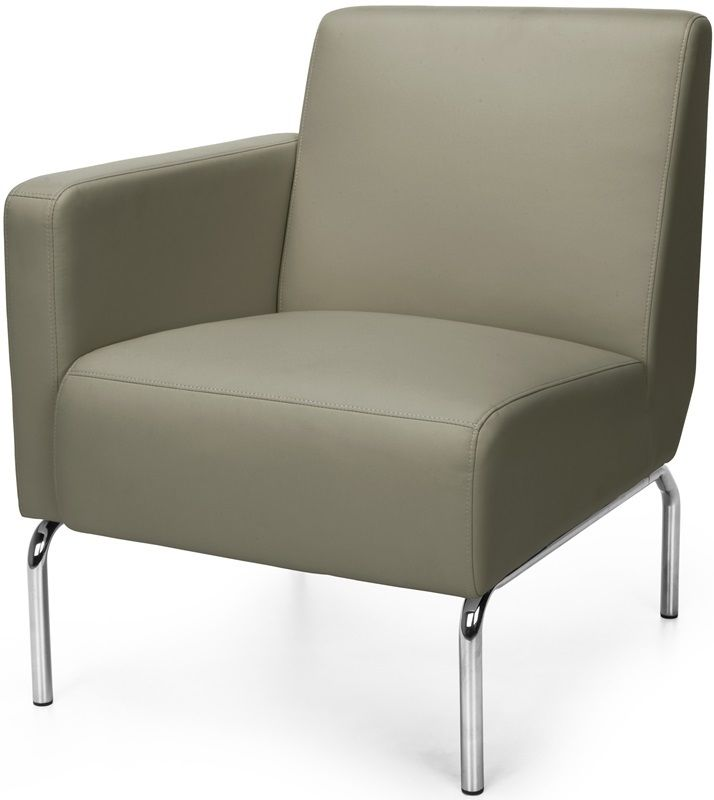 #159 - Right Arm Modular Lounge Chair with Vinyl Seat and Chrome Feet in Taupe