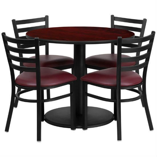#12 - 36'' ROUND MAHOGANY LAMINATE TABLE SET WITH 4 LADDER BACK METAL CHAIRS - BURGUNDY VINYL SEAT
