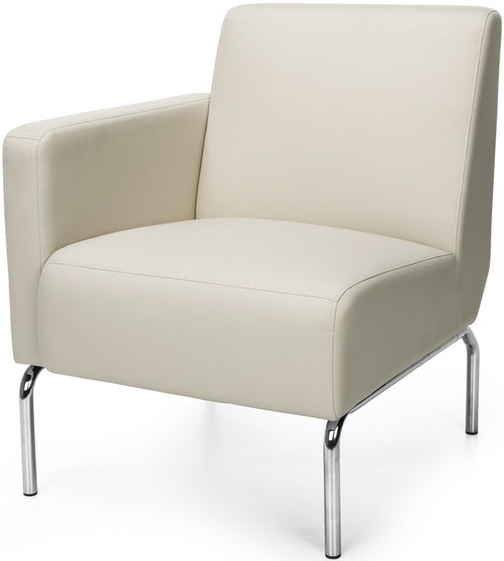 #160 - Right Arm Modular Lounge Chair with Vinyl Seat and Chrome Feet in Cream