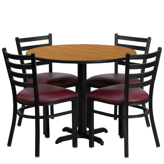 #13 - 36'' ROUND NATURAL LAMINATE TABLE SET WITH 4 LADDER BACK METAL CHAIRS - BURGUNDY VINYL SEAT