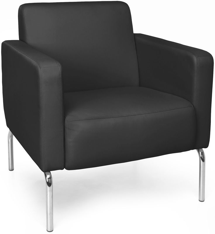 #161 - Lounge Chair with Vinyl Seat with Chrome Feet in Black