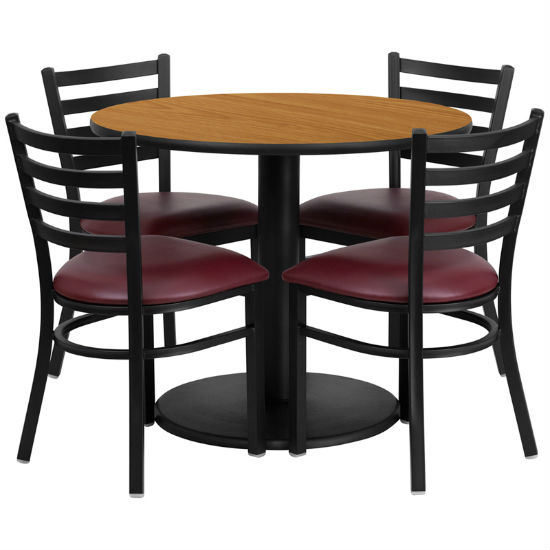 #14 - 36'' ROUND NATURAL LAMINATE TABLE SET WITH 4 LADDER BACK METAL CHAIRS - BURGUNDY VINYL SEAT