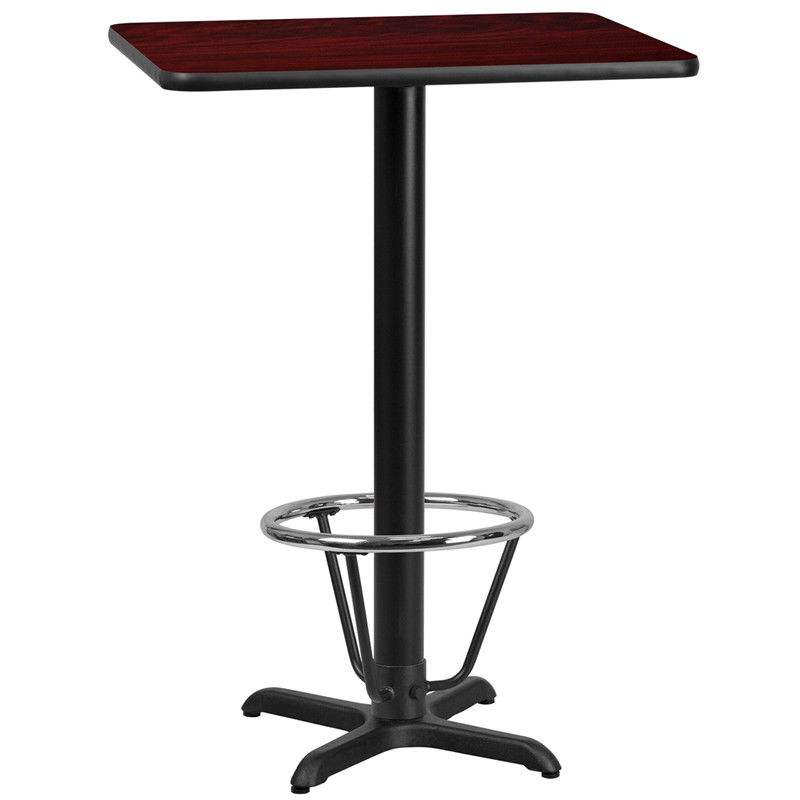 #35 - 24'' x 30'' Rectangular Mahogany Laminate Table Top with 22'' x 22'' Bar Height Table Base and Foot Ring