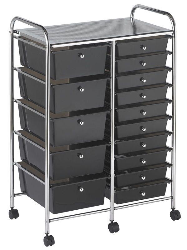 #56 - 15 Drawer Mobile Organizer in Black