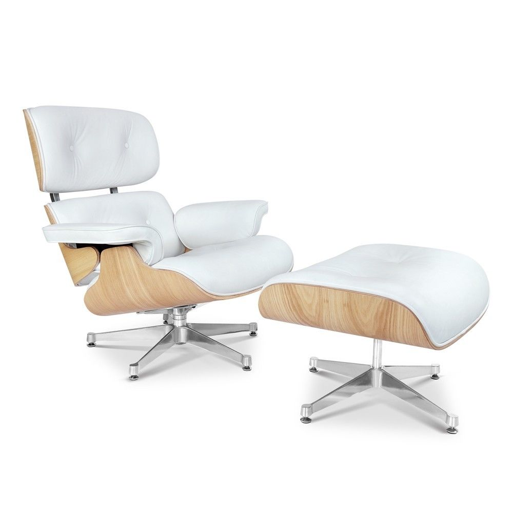 #67 - Mid-Century Classic Design Ashwood Lounge Chair and Ottoman Set in White Top Grain Leather