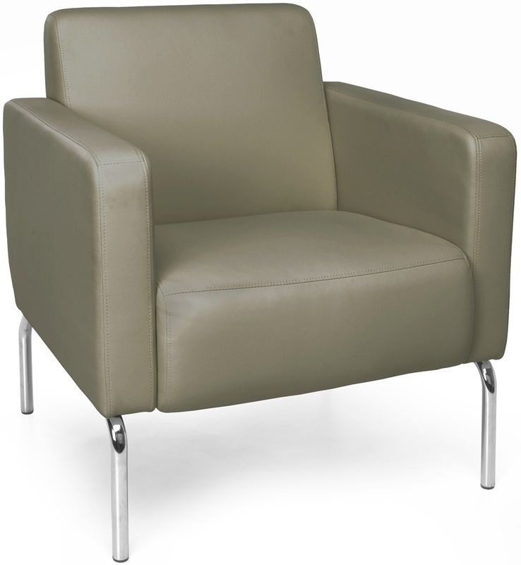#162 - Lounge Chair with Vinyl Seat with Chrome Feet in Taupe