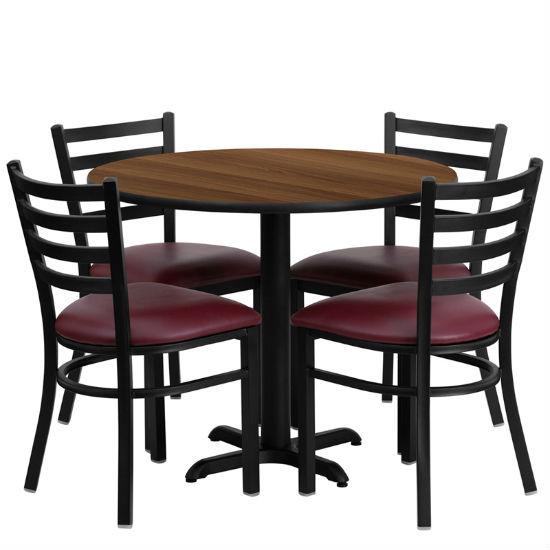 #15 - 36'' ROUND WALNUT LAMINATE TABLE SET WITH 4 LADDER BACK METAL CHAIRS - BURGUNDY VINYL SEAT