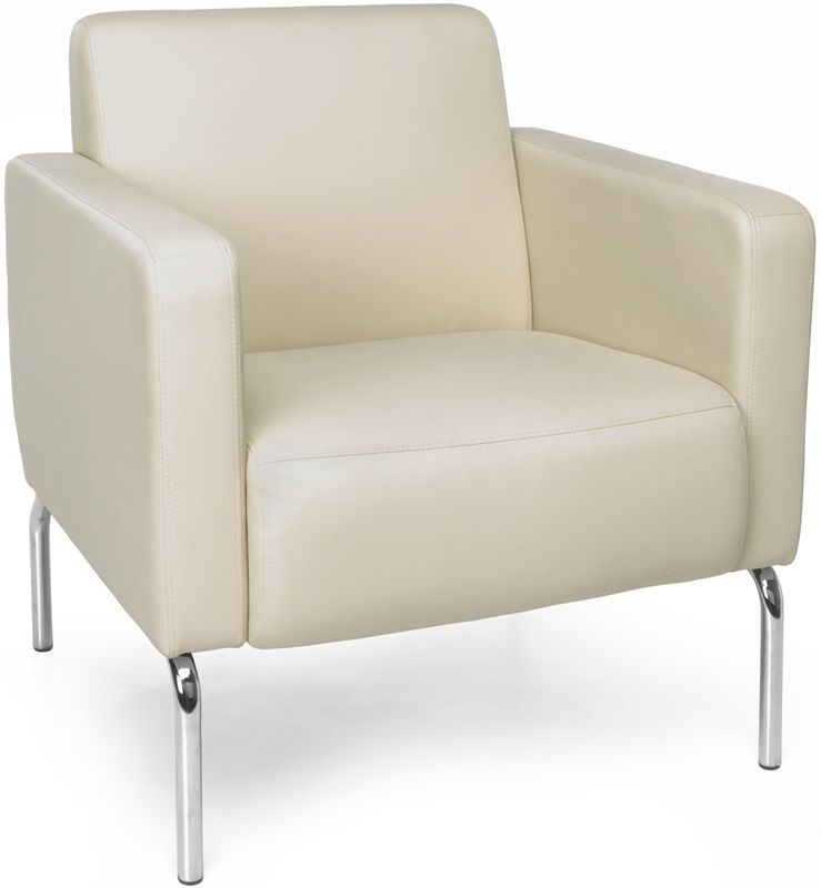 #163 - Lounge Chair with Vinyl Seat with Chrome Feet in Cream