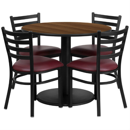 #16 - 36'' ROUND WALNUT LAMINATE TABLE SET WITH 4 LADDER BACK METAL CHAIRS - BURGUNDY VINYL SEAT