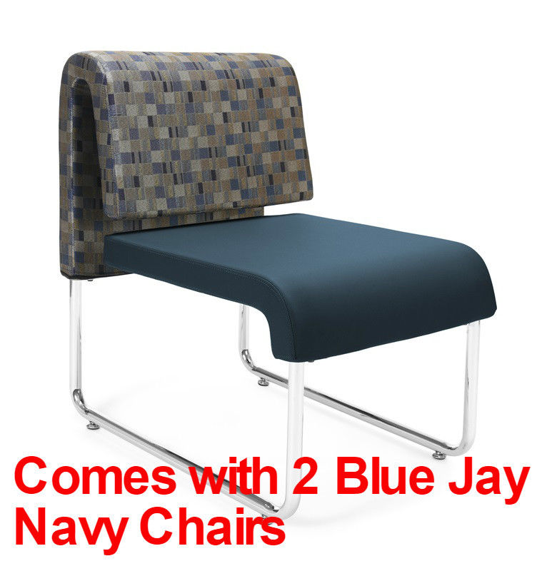 #82 - (3 PCS)UNO Series Lounge Package w/Blue Jay Navy Chairs & Windswept Bronze Table
