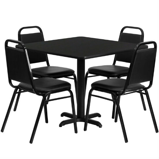 #17 - 36'' SQUARE BLACK LAMINATE TABLE SET WITH 4 BLACK TRAPEZOIDAL BACK BANQUET CHAIRS