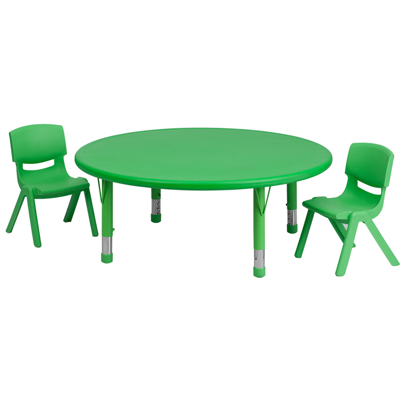 #27 - 45'' ROUND ADJUSTABLE GREEN PLASTIC ACTIVITY TABLE SET WITH 2 SCHOOL STACK CHAIRS