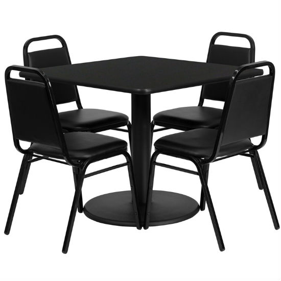 #18 - 36'' SQUARE BLACK LAMINATE TABLE SET WITH 4 BLACK TRAPEZOIDAL BACK BANQUET CHAIRS