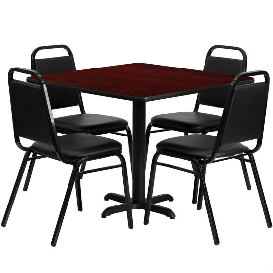 #19 - 36'' SQUARE MAHOGANY LAMINATE TABLE SET WITH 4 BLACK TRAPEZOIDAL BACK BANQUET CHAIRS