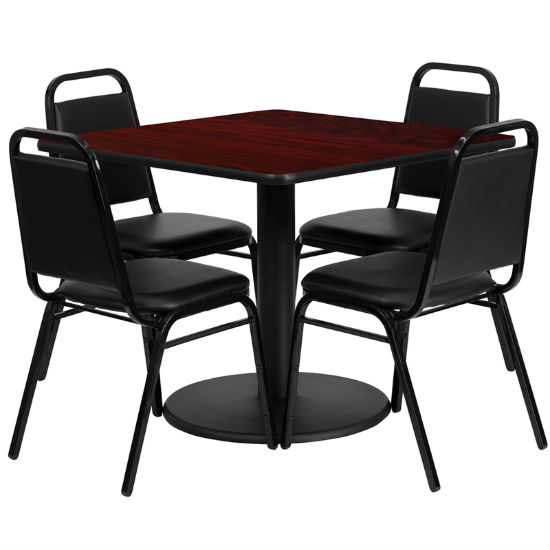 #20 - 36'' SQUARE MAHOGANY LAMINATE TABLE SET WITH 4 BLACK TRAPEZOIDAL BACK BANQUET CHAIRS