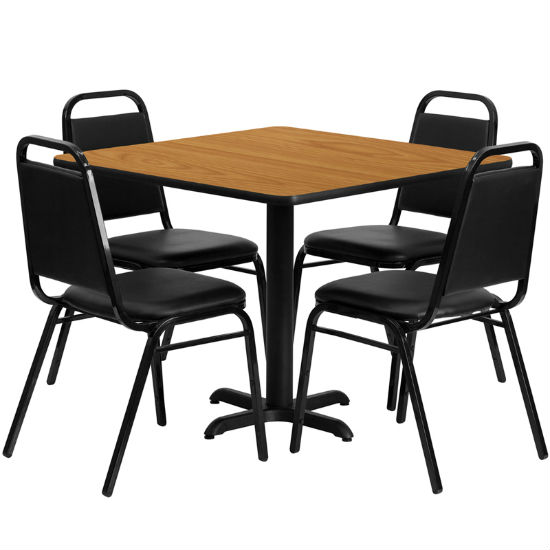 #21 - 36'' SQUARE NATURAL LAMINATE TABLE SET WITH 4 BLACK TRAPEZOIDAL BACK BANQUET CHAIRS