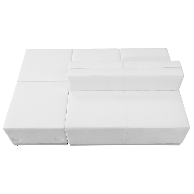 #84 - LOUNGE SERIES WHITE LEATHER RECEPTION CONFIGURATION, 4 PIECES
