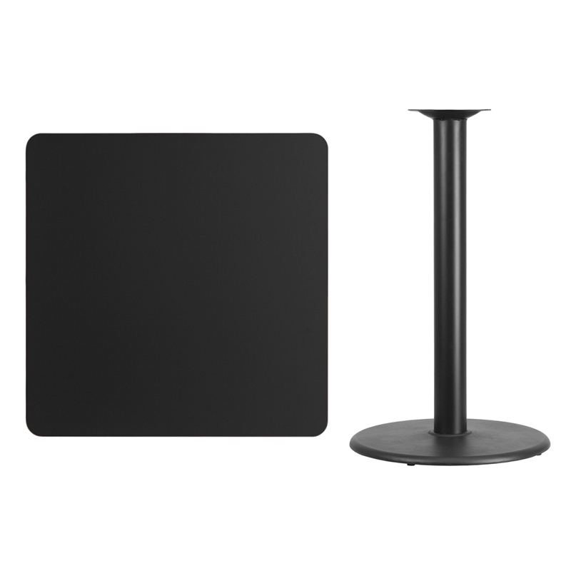 #97 - 36'' SQUARE BLACK LAMINATE TABLE TOP WITH 24'' ROUND BAR HEIGHT BASE