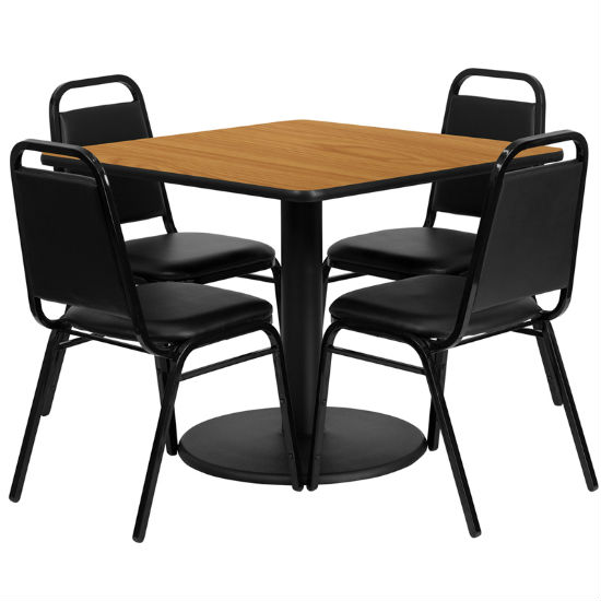 #22 - 36'' SQUARE NATURAL LAMINATE TABLE SET WITH 4 BLACK TRAPEZOIDAL BACK BANQUET CHAIRS