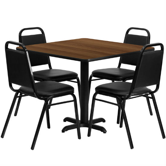 #23 - 36'' SQUARE WALNUT LAMINATE TABLE SET WITH 4 BLACK TRAPEZOIDAL BACK BANQUET CHAIRS