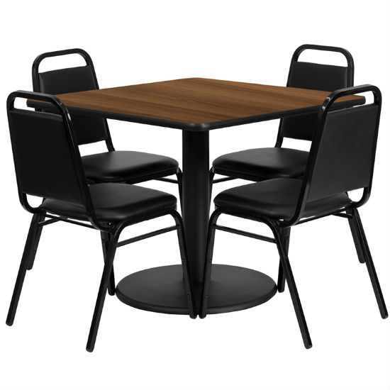#24 - 36'' SQUARE WALNUT LAMINATE TABLE SET WITH 4 BLACK TRAPEZOIDAL BACK BANQUET CHAIRS