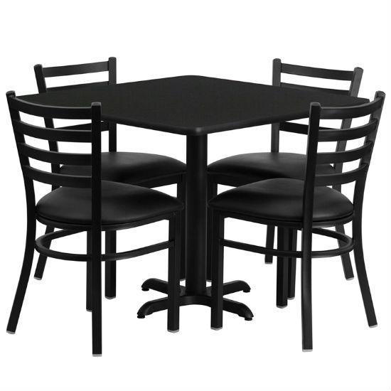#25 - 36'' SQUARE BLACK LAMINATE TABLE SET WITH 4 LADDER BACK METAL CHAIRS - BLACK VINYL SEAT