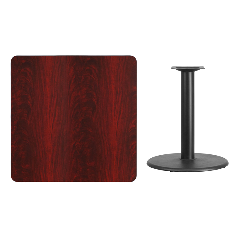 #98 - 36'' SQUARE MAHOGANY LAMINATE TABLE TOP WITH 24'' ROUND TABLE HEIGHT BASE