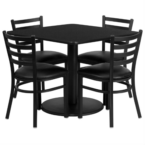 #26 - 36'' SQUARE BLACK LAMINATE TABLE SET WITH 4 LADDER BACK METAL CHAIRS - BLACK VINYL SEAT