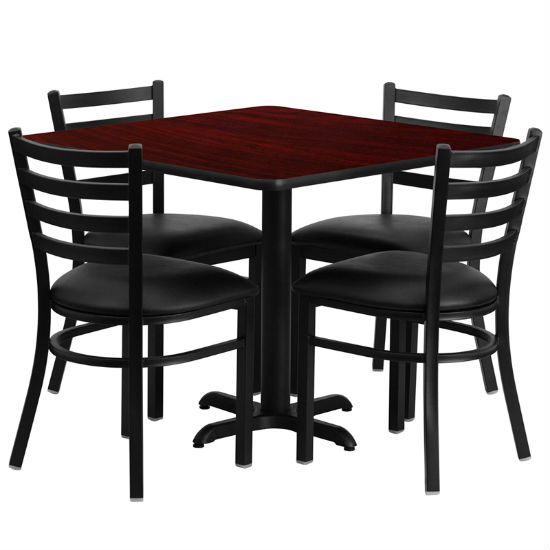 #27 - 36'' SQUARE MAHOGANY LAMINATE TABLE SET WITH 4 LADDER BACK METAL CHAIRS - BLACK VINYL SEAT