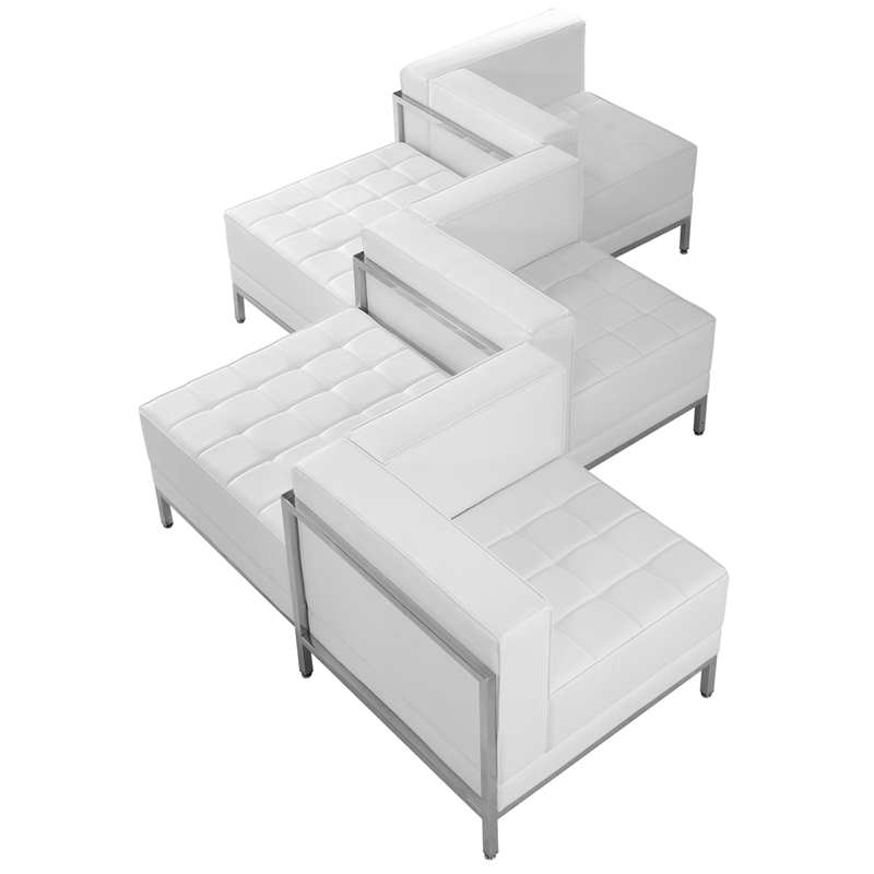 #61 - 5 Piece Imagination Series White Leather Corner Chair Set