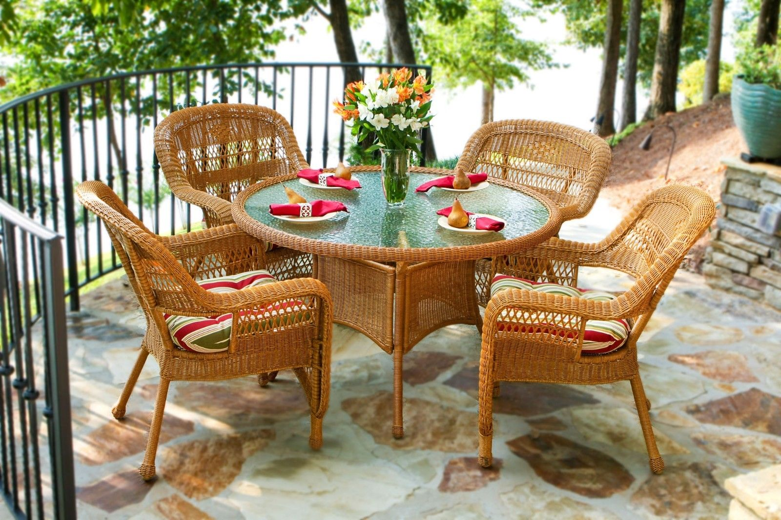 #30 - 5Pcs Outdoor Patio Southwest Amber Resin Wicker Dining Set & East Pompeii Fabric