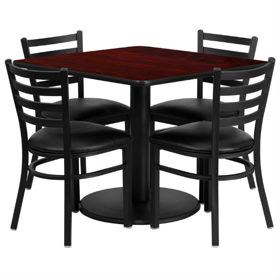#28 - 36'' SQUARE MAHOGANY LAMINATE TABLE SET WITH 4 LADDER BACK METAL CHAIRS - BLACK VINYL SEAT