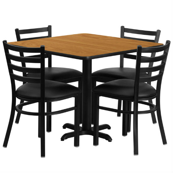 #29 - 36'' SQUARE NATURAL LAMINATE TABLE SET WITH 4 LADDER BACK METAL CHAIRS - BLACK VINYL SEAT