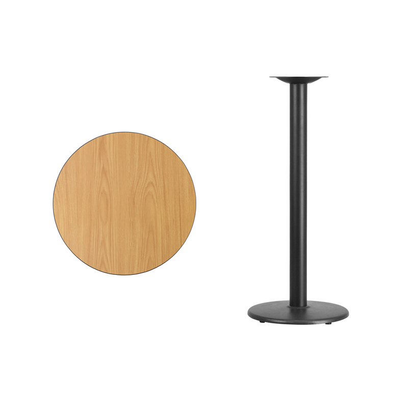 #14 - 24'' Round Natural Laminate Table Top with 18'' Round Bar Height Base