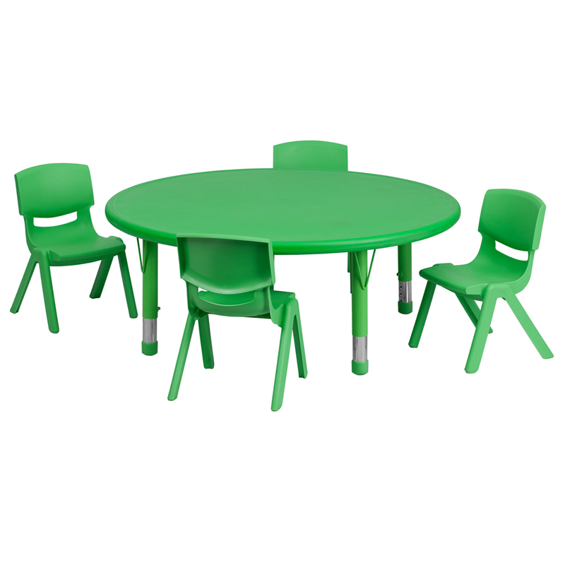 #28 - 45'' ROUND ADJUSTABLE GREEN PLASTIC ACTIVITY TABLE SET WITH 4 SCHOOL STACK CHAIRS