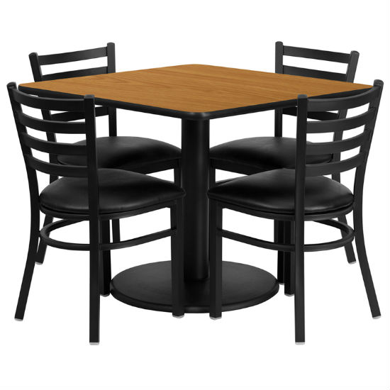 #30 - 36'' SQUARE NATURAL LAMINATE TABLE SET WITH 4 LADDER BACK METAL CHAIRS - BLACK VINYL SEAT